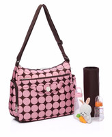 with Insulated Bottle pockets Pink Printed Nappy bags, tote bag diaper