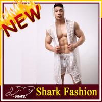 Shark Fashion men robes sexy sheet hoodies night wear men sleeveless bathrobe