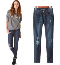 EY0653A new design jean pants hiphop destroyed denim biker jeans ,ripped jeans for women