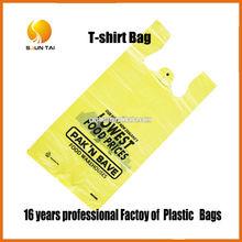 logo printed customized PE T-shirt plastic bags