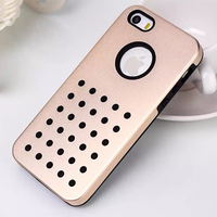 Silicone And Aluminum Metal Combo Dot Back Case For iPhone 5 5S