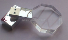 Best-selling Crystal USB Flash Drive,Three-dimensional Transparent USB Flash Drive with LED Light