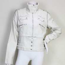 White Cheap Leather Motorcycle Jacket Of City Girl