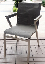 aluminum brushed fabric stacking chair, aluminum arm chair, outdoor chair