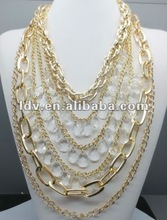 2012 Hot-selling Autumn wholesale sideways cross big colorful triangle empty cup chain large costume jewelry necklaces