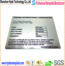 top quality and nice appearance stainless steel etching and foll color nameplate