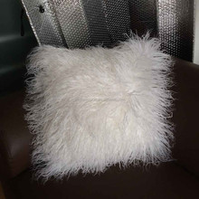 black or white genuine sofa 50*30cm pillows mongolian sheep fur pillows