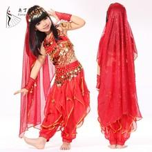 Twk00820 indio de danza del vientre trajes de ropa de baile para el niño del vientre traje de la danza para los niños