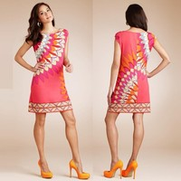XXL!High Quality New Fashion European America Clothing Summer 2015 Women Novelty Print Cap Sleeve 100%Silk Jersey Stretch Dress