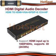 HDMI,SPDIF,RCA 3.5mm output stereo audio hdmi to 5.1 analog converter