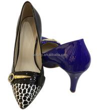 shining material upper short heel pointed toe glaze women shoes