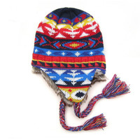 children jacquard pattern beanie hats with fur earflaps