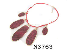 N3763 Charming Exaggerated Red Pendant Lariat Necklace
