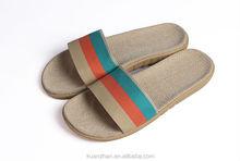 Linen cotton summer EVA woman slipper