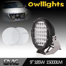 2015 Hotsale 9-32v 9 inch 185w 4wd Spot Lighting 185watt LED Driving Light 9inch Round LED Spot Light