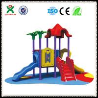 Good quality Plastic jungle gym, plastic kids playground, giant metal slide for sale/ QX-068F