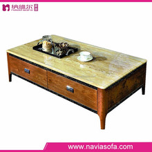 Latest Design Nature marble top high glossy MDF wooden tea table design
