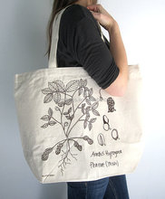 Canvas Tote Bag - Screen Printed Recycled Cotton Grocery Bag - Large Canvas Shopper Tote - Reusable and Washable - Eco Friendly