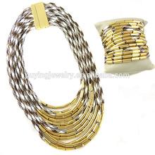 Atacado multilayer tubo de cobre colar magnético, corda de cera colar gargantilha