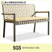 Outdoor Wicker Long Dining Chair Flower Pattern Comfortable Backrest Garden Bench with Cheap Price RW51-3313