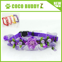 High quality small dog nylon flower collar with bell cat flower neck collar 4 colors on sale