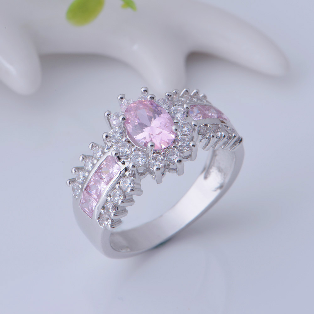 Aliexpress Buy Silver Ring Pink Zircon Anel Women Wedding Set Rings Big