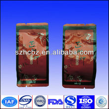 customized colorful tea packaging bag with side gusset