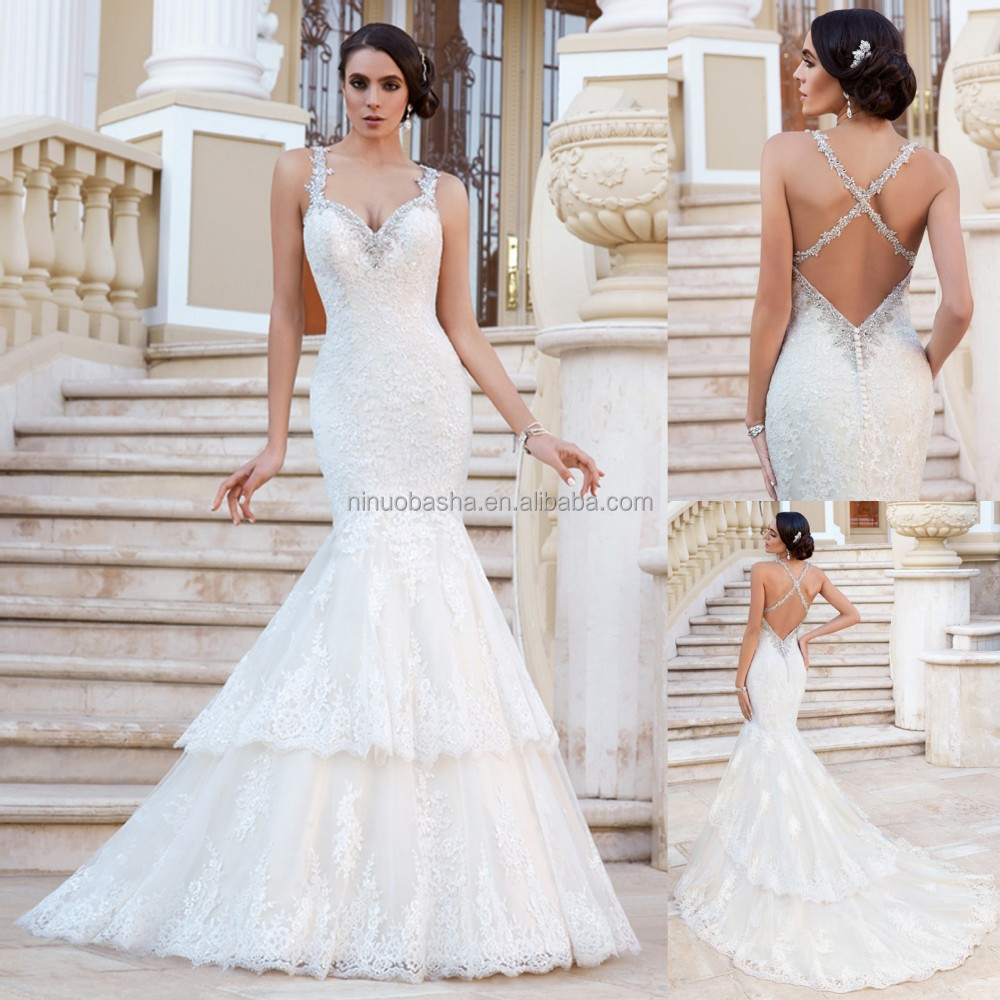 2015 exquisite lace wedding dress beaded spaghetti straps for Cross back wedding dress