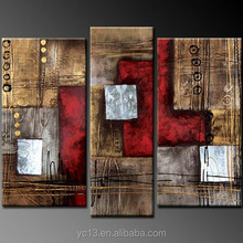 abstract red 3 panel oil painting on canvas hand painted