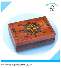 Secret Opening Compass Cartography Box, wooden jewelry box, Christmas Gift Box