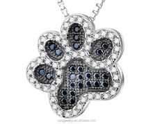 Black and White CZ Charm 925 sterling silver Dog Paw Pendant
