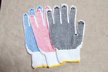 PVC Dotted Double Sides Knitted Cotton Liner Hand Gloves