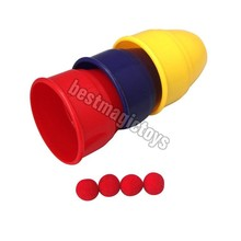 Plastic Magic Cups And Balls (Professional) - Close Up Magic, Magic Trick small