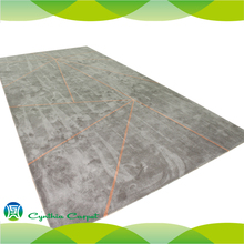 Soft Single Color Rayon Silk Hard Wearing Carpet and Rug For Home