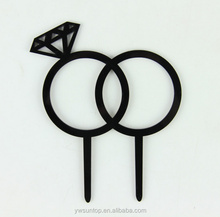 Diamand Ring Design Black Acrylic Cake Topper Wedding Party Accessory