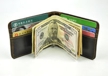 2015 China alibaba top brand Men Genuine Leather Brown Bifold Card Cash ID Case Clip Holder Wallet