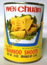 Fresh Canned bamboo shoots with sliced and strips or halves in water
