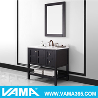 VAMA 36 Inch Vanity in Espresso with Marble Top Classic Bathroom Cabinet