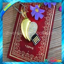 Heart shape Crystal usb flash disk 32GB,Diamond usb flash disk 64GB,Jewelry usb flash disk 128GB with necklace usb drive