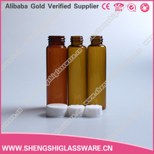 Empty 20ml amber glass vial for medical with plastic cap