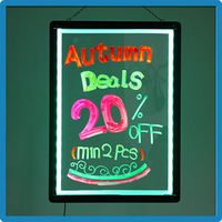 China Supplier ZD Table Top Writing Board RGB5050 90 Flashing Modes LED Open Sign Aluminum Alloy Frame Digital Blackboard