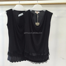 Fashion design cowl neck sleeveless lace trim woman blouse