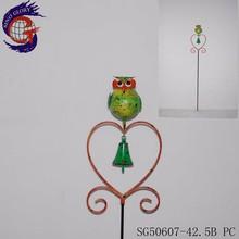 Handmade Animal metal garden art with metal owl sticks