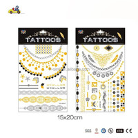 Gold & Black Metallic Temporary Girl Power Tattoos