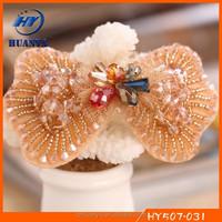New designs legant fashion fancy bow handmade beaded hair grip