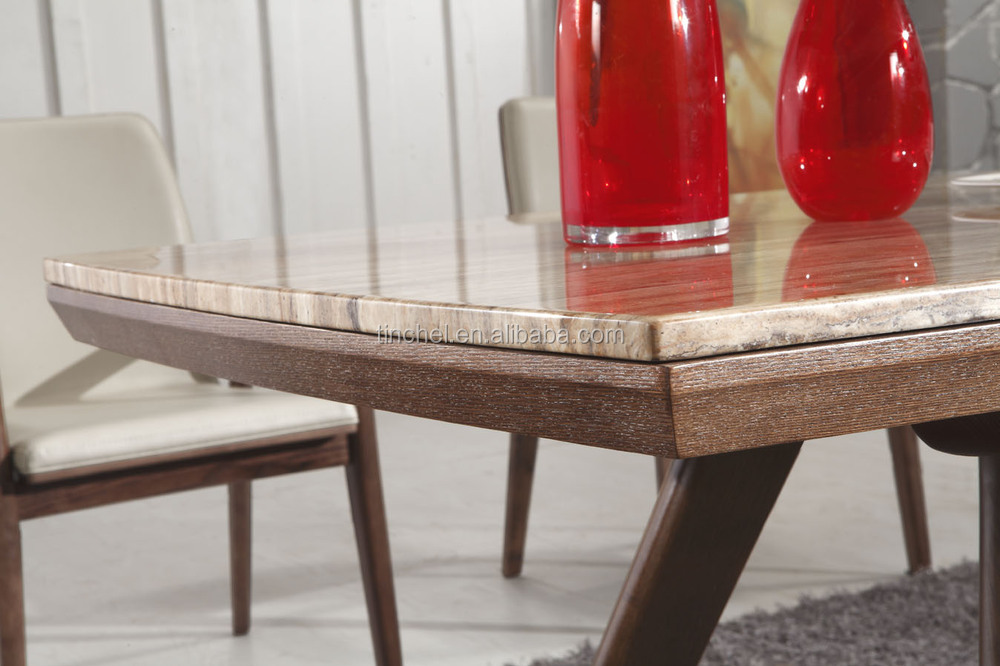 High quality marble dining table with wood base d908a for Quality wood dining tables