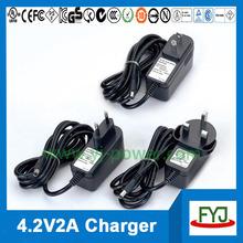 wall plug charger 4.2v 2a for 3.7v rechargeable battery eu us uk au plug charger YJP-042200