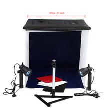 """60cm / 24"""" Photo Studio Square Light Tent Kit Folding Square Light Tent + 50W Halogen Lamps (EU Plug) + Rotatable Ball Head Copy"""