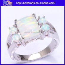 White Fire Opal 925 Sterling Silver Five Stone Custom Engagement Rings For Men