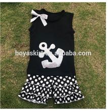 comfortable wholesale summer clothing ruffle outfit anchot design top and polka dots short summer tshirt and short clothing set